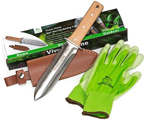 Vivero Home Exclusive Set - Multi-Purpose Japanese Hori Hori Garden Knife  Bamboo Gloves  Leather Sheath Stainless Steel Blade  Handguard Garden Tool for Gardening Landscaping Digging Weeding