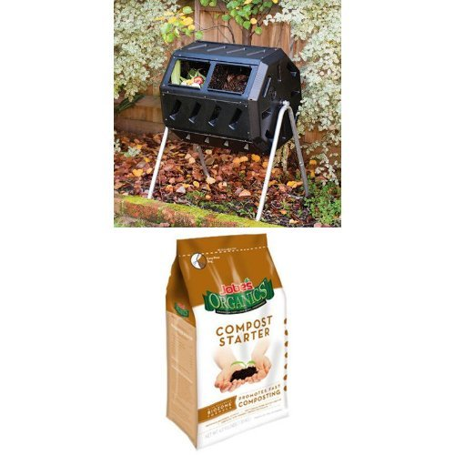 Yimby Tumbler Composter Color Black And Compost Starter Bag Bundle