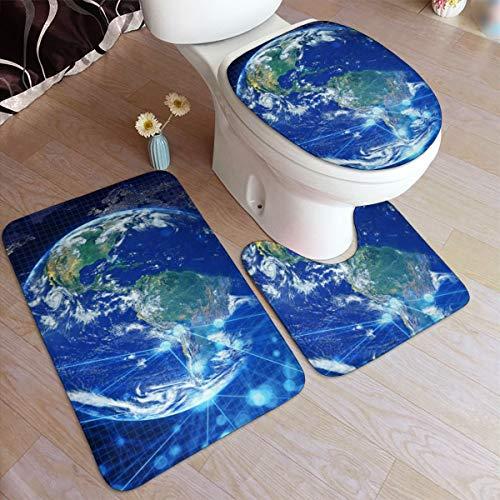GHWSgGN Blue Earth Bathroom Rug Mats Set 3 Piece Fashion Anti-Skid Pads Bath Mat  Contour  Toilet Lid Cover