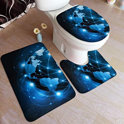 GHWSgGN Fantasy Blue Earth Bathroom Rug Mats Set 3 Piece Fashion Anti-Skid Pads Bath Mat  Contour  Toilet Lid Cover