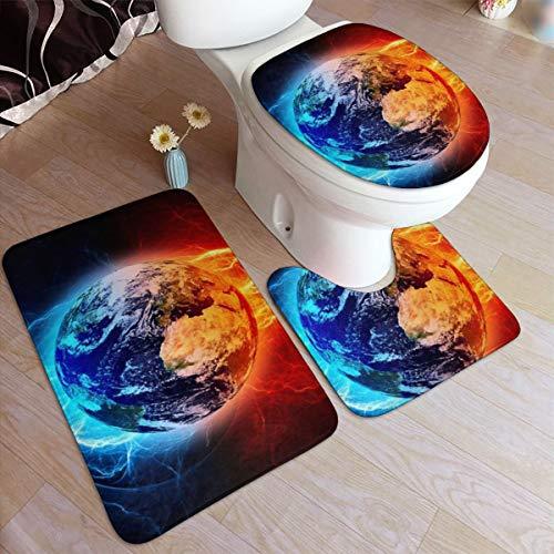 GHWSgGN Ice Fire Yin Yang Earth Bathroom Rug Mats Set 3 Piece Fashion Anti-Skid Pads Bath Mat  Contour  Toilet Lid Cover