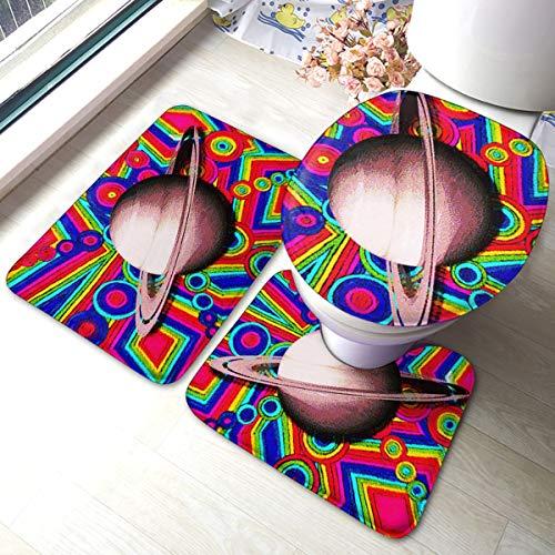 HL Bathroom Rugs Sets 3 Piece Tie Dye Colorful Earth Bathroom Rug Set Bath Contour Mat Toilet Lid Cover U Shaped Nonslip Home Washroom Decor Shower Accessories