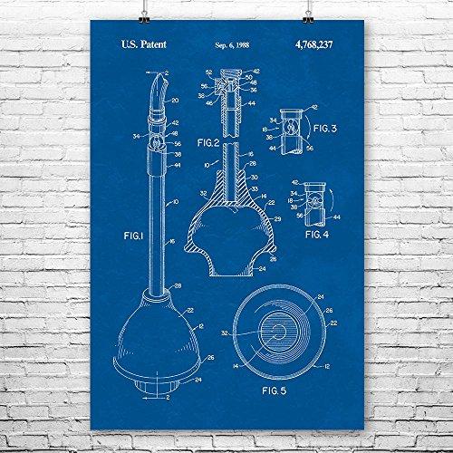 Patent Earth Toilet Plunger Poster Print Plumbing Repairman Plumber Gift Bathroom Art Water Closet Handyman Gifts Restroom