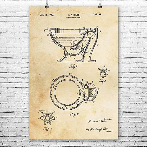 Patent Earth Toilet Poster Print Plumber Gifts Toilet Blueprint Bathroom Art Plumbing Repairman Handyman Gift Water Closet