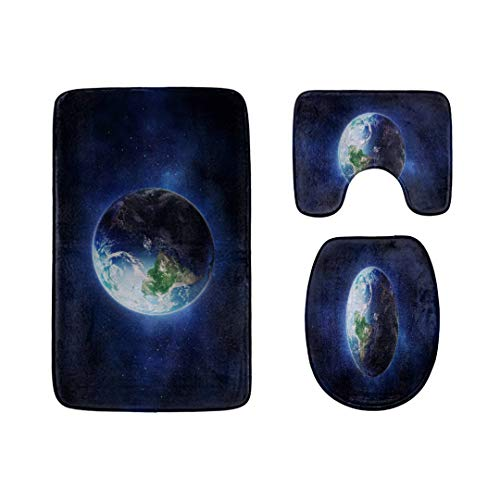 The Planet We Live in Earth Bathroom Rug Mats Set 3-PieceSoft Shower Bath RugsContour Mat and Toilet Seat Lid Cover Non-Slip Machine Washable Flannel Toilet Rugs
