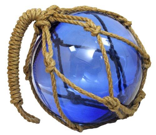 10 Deep Blue Glass Maritime Fishing FloatJute Rope - Garden Globe