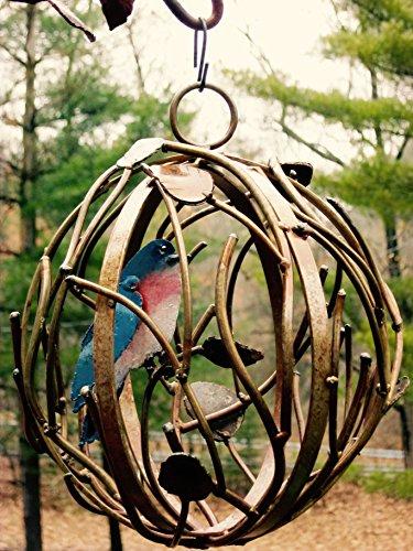 Iron Twig Garden Globe with Bird Blue
