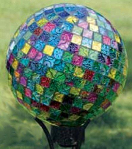 10 Vibrant Jewel Tone Art Glass Mosaic Outdoor Patio Garden Gazing Ball