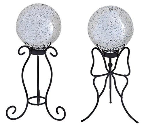 Evergreen Garden 47M038 New Creative Mercury Glass Gazing Ball and Stand Set of 2