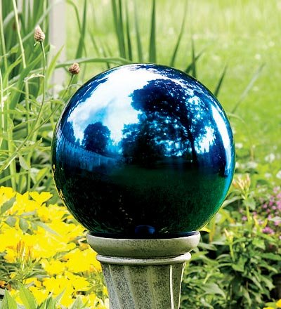 Plow Hearth Unbreakable Reflective Garden Gazing Ball - Colored Stainless Steel - 10 Dia in Blue