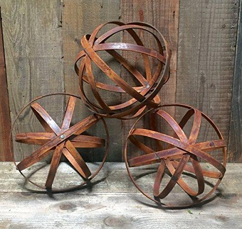 Steel Garden Sphere 36 - Extra Wide 1-12 inch wide Steel - Rust Steel Finish Steel Silver