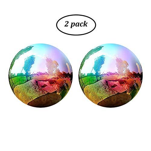 2Pcs Rainbow Mirror Ball Gazing Globe Stainless Steel Shiny Ball Gazing Balls for Gardens Decoration - 345 Inch 2Pcs 3inch
