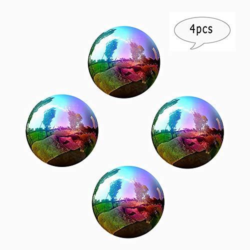 4Pcs Rainbow Mirror Ball Gazing Globe Stainless Steel Shiny Ball Gazing Balls for Gardens Decoration - 34 Inch 3Inch