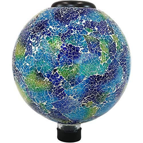 Sunnydaze Garden Gazing Globe with LED Solar Light Crackled Glass Azul Terra Design Outdoor and Landscape Decor 10-Inch