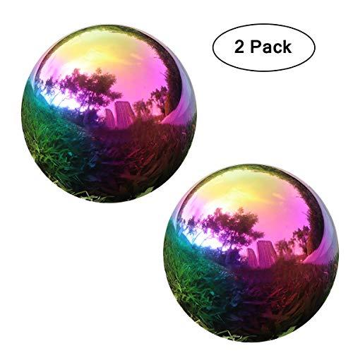 YeahaWo Rainbow Gazing Globe Mirror Ball Home Shiny Stainless Steel Gazing Balls for Gardens Yard Ponds Pack of 2 32 Inch