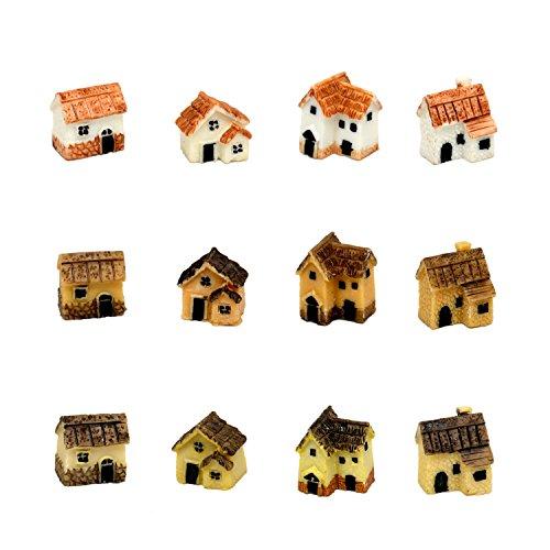 Pixie Glare Fairy Garden Miniature Micro Village Stone Houses 12 pack Multicolor 12 pack