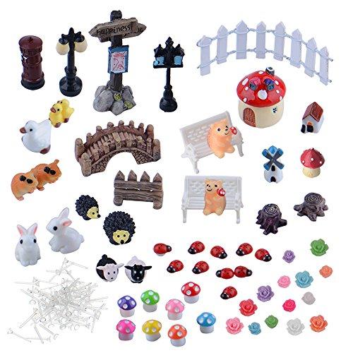 Zealor Fairy Garden Miniature Ornament For Dollhouse Garden Decor Pack Of 60
