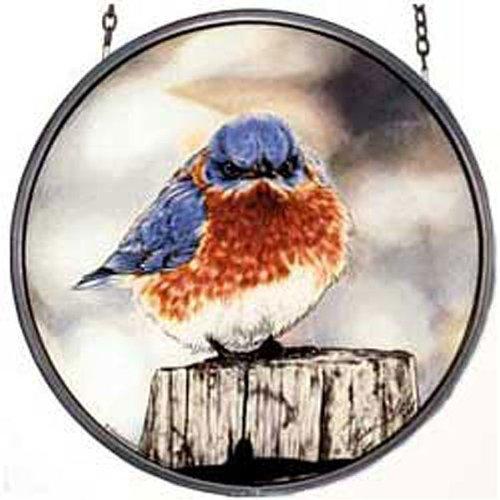 Mi Hummel/glassmasters 6-1/2-inch Mad Bluebird Stained Glass Suncatcher
