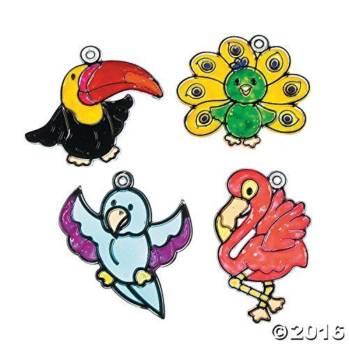 24 Color Your Own Tropical Bird Sun catchers Kids Craft Suncatchers