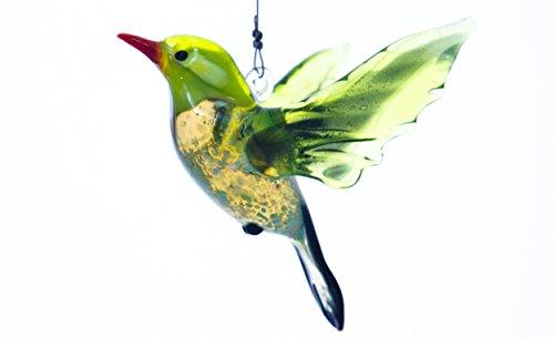 Hanging Glass Green Song Bird Suncatcher - Great Gift