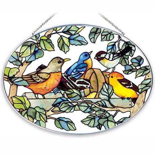 Joan Baker Designs Lo057 Birds Of A Feather Art Glass Suncatcher 9 By 6-12-inch