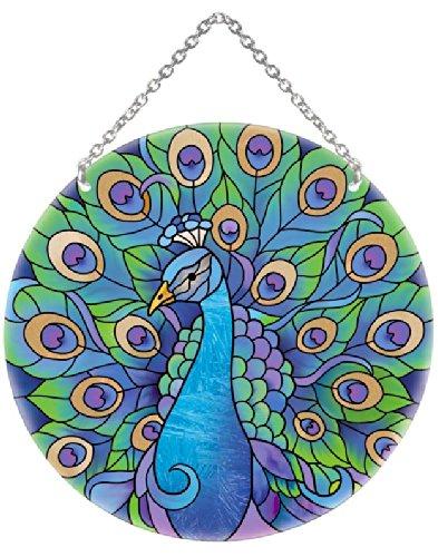 Joan Baker Designs Lc042 Peacock Art Glass Suncatcher 6-12-inch Diameter