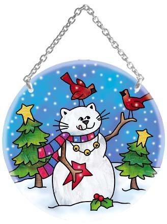 Joan Baker Medium Circle Cat Snowman Suncatcher
