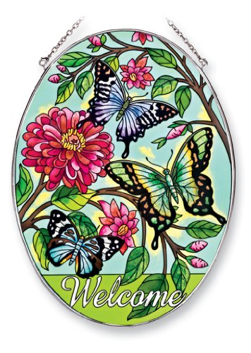 Amia 41243 Butterfly Welcome 6-12 By 9-inch Oval Sun Catcher Large