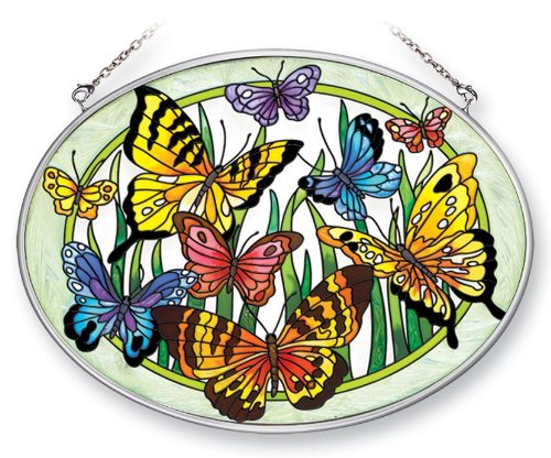 Amia 41381 Butterfly Surprise 7 By 5-12-inch Oval Sun Catcher Medium