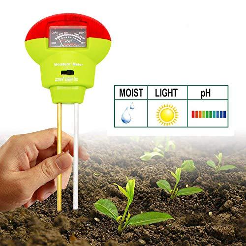 Soil Tester Soil Moisture Meter 3-in-1 Easy-to-Read Soil Moisture pH Light Test Kit for Vegetables Farm Lawn Care Indoor Outdoor Use No Battery Needed