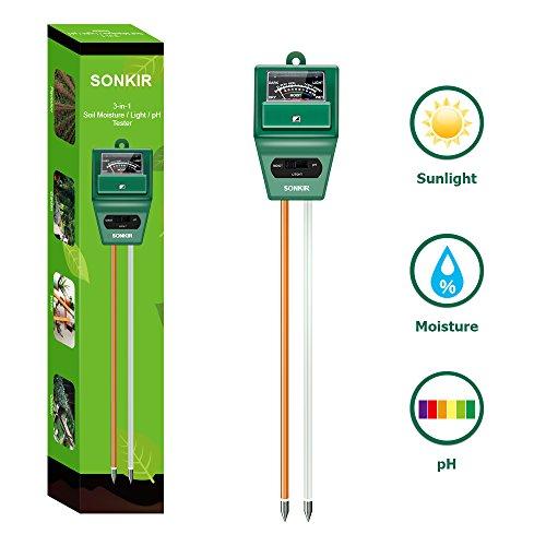 Sonkir Soil pH Meter MS02 3-in-1 Soil MoistureLightpH Tester Gardening Tool Kits for Plant Care Great for Garden Lawn Farm Indoor Outdoor Use Green