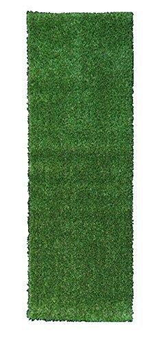 Berrnour Home Grassland Collection Indooroutdoor Green Artificial Grass Turf Solid Design Runner Rug 27&quot X