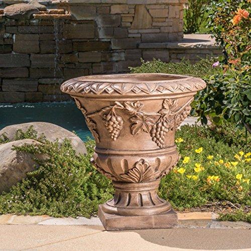 Large 21 Brown Stone Roman Decor Outdoor Garden Urn Planter  Flowers Pot JM54574-4565467341188041