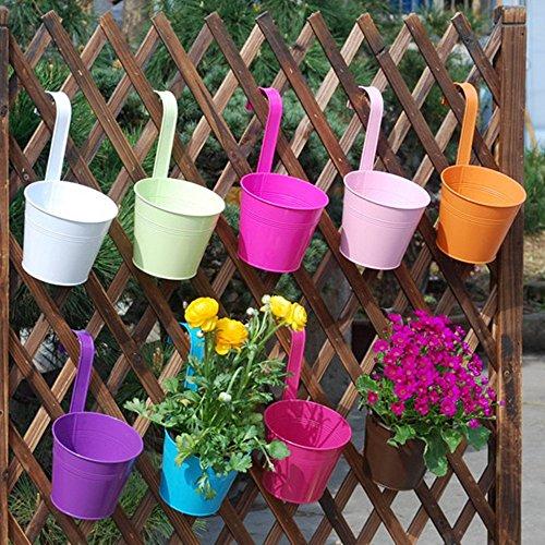 Flower Pots  Aidoo 10 Pcs Metal Iron Flower Pot Hanging Balcony Garden Plant Planter Home Decor whole Colors