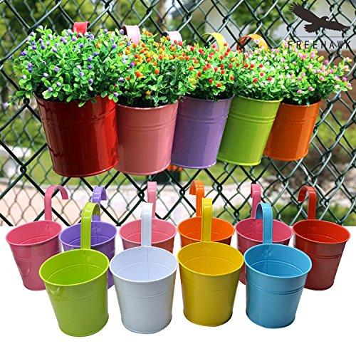 Hanging Flower Potsout Topper Balcony Garden Plant Planter Metal Iron Mini Flower Seedlings Brigade Fence Bucket