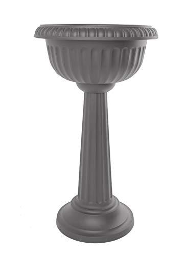 Bloem GU180-908 Grecian Urn Tall Pedestal Planter 32 Charcoal Gray