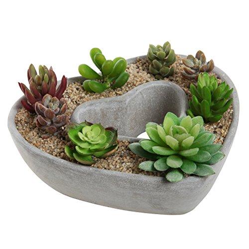 Cut Out Heart Shaped Design Gray Cement Outdoor Plant Pot Flower Planter  Decorative Centerpiece Bowl