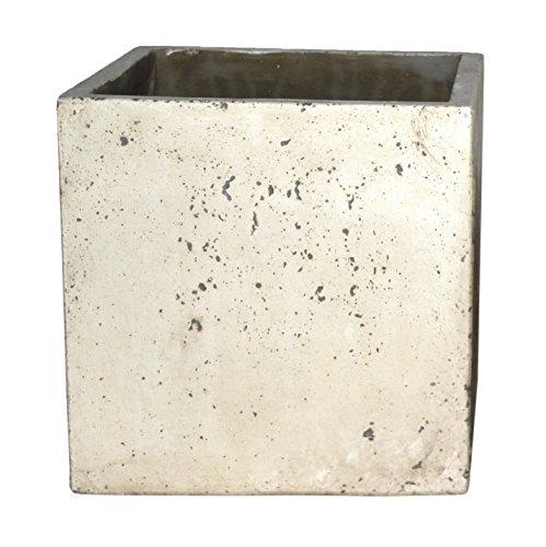 Happy Planter Cube Natural Cement Fiber Planter Size - 5 x 5 Color - White