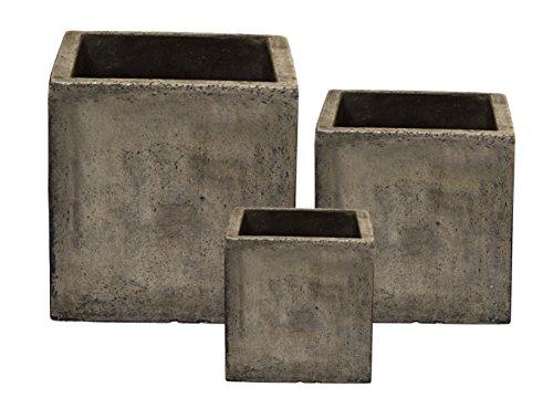 Happy Planter Cubes Natural Cement Fiber Planter Set Cement Grey Set Of 3