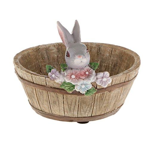 Decorative Bunny Rabbit Resin Flower Cactus Herbs Sedum Succulent Pot Planter Bonsai Trough Box Plant Bed Home Garden Pot Decor