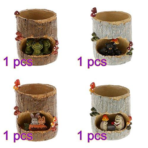 Tinksky Sedum Succulent Pot Planter Bonsai Trough Box Plant Bed Office Desk Home Garden Pot DecorChristmas Gift Pack of 4 (Cute Green Frog  Black Bear  Rabbit Picnic  Hedgehog)