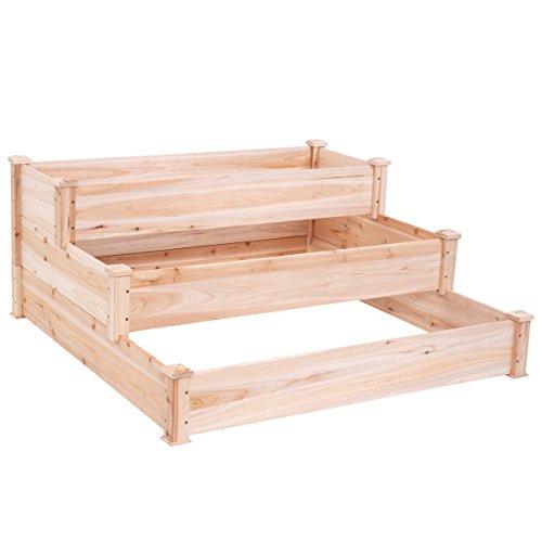 Giantex Wooden Raised Vegetable Garden Bed Elevated Planter Kit Grow Gardening Vegetable 485X485X217
