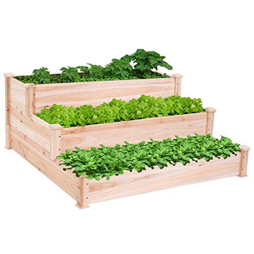 New Wooden Raised Vegetable Garden Bed 3 Tier Elevated Planter Kit Outdoor Gardening