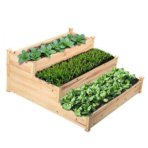 Topeakmart Cedar Wooden Raised Garden Vegetable Bed Natural - 3-Tier - 488L x 484W x 217H inches
