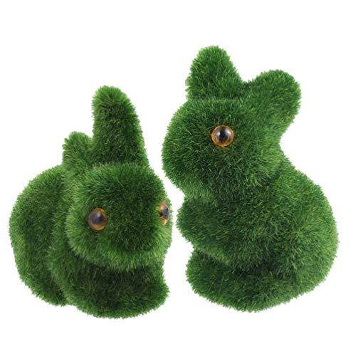 Amosfun Artificial Moss Animal Simulation Seating and Lying Rabbit Room Office Decor Baby Kids Toy Artwork Handiwork Gift Scenery Garden Buildings