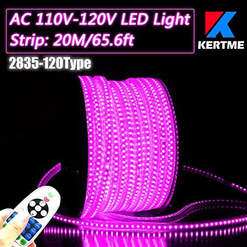 KERTME 2835-120 Type AC 110-120V Pink LED Strip Lights FlexibleWaterproofDimmableMulti-Modes LED Rope Light  23 Keys Remote for HomeGardenBuilding Decoration 656ft20m Pink