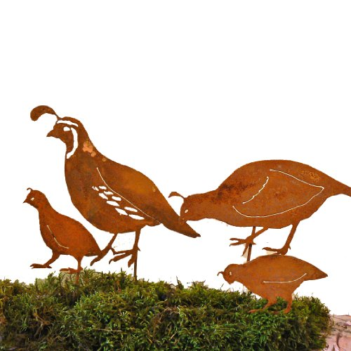 Elegant Garden Design California Quail Family Stake Steel Silhouette with Rusty Patina