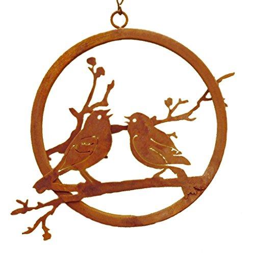 Elegant Garden Design Lovebird Branch Ring Steel Silhouette with a Rusty Patina