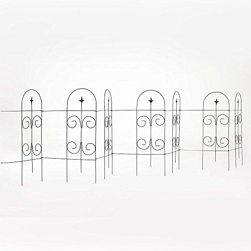 Amagabeli 32 Inches by 115 Feet Rustproof Black Metal Decorative Fence - 7 Panels Attachable Folding Garden Border Fence Garden Wire Fence Iron Garden Fence Panels Garden Fencing Folding