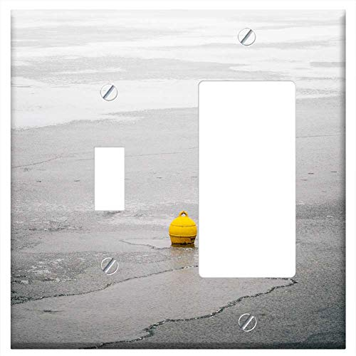 1-Toggle 1-RockerGFCI Combination Wall Plate Cover - Buoy Yellow Lake Winter Pond Ice Frost Snow